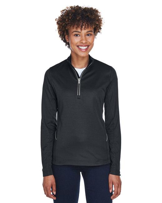 UltraClub Ladies' Cool & Dry Sport Quarter-Zip Pullover - Black