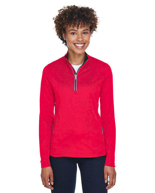 UltraClub Ladies' Cool & Dry Sport Quarter-Zip Pullover - Red