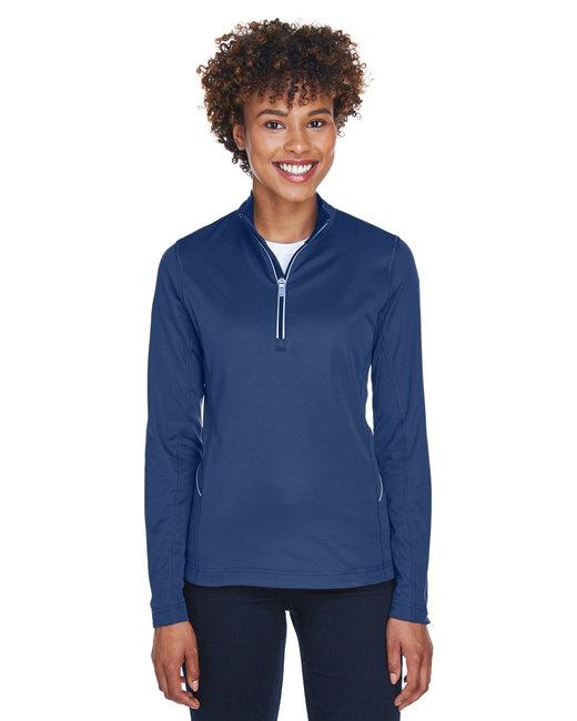UltraClub Ladies' Cool & Dry Sport Quarter-Zip Pullover - Navy