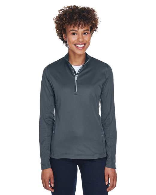 UltraClub Ladies' Cool & Dry Sport Quarter-Zip Pullover - Charcoal