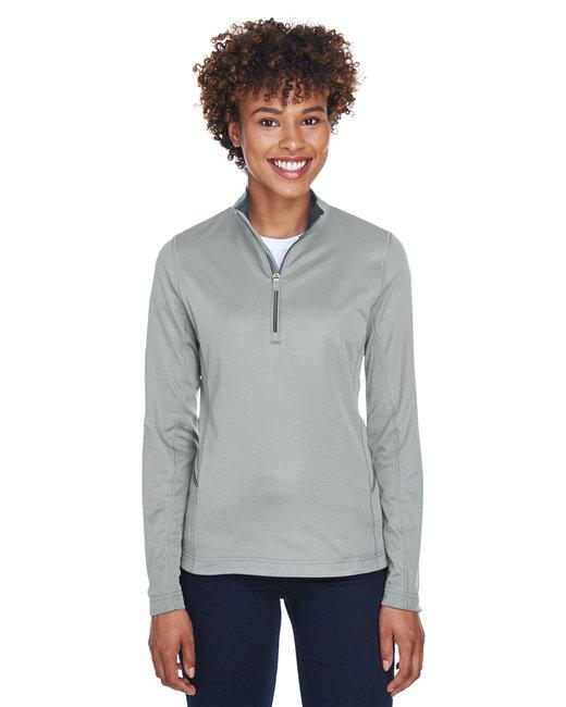 UltraClub Ladies' Cool & Dry Sport Quarter-Zip Pullover - Grey