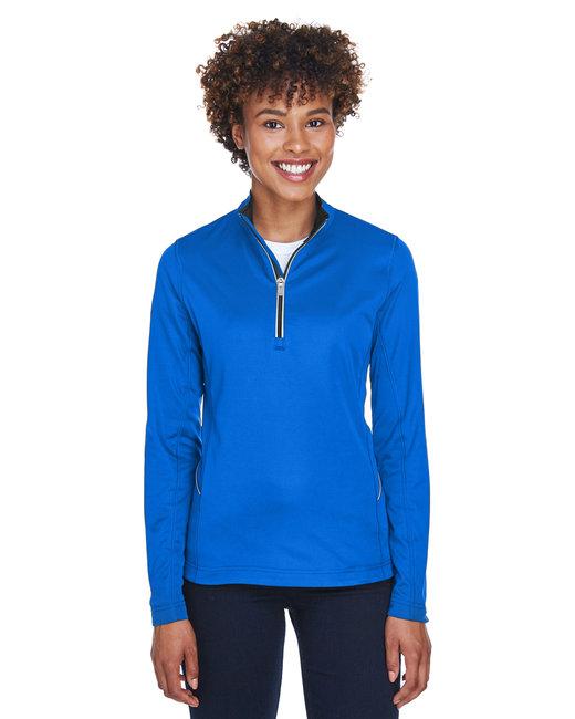 UltraClub Ladies' Cool & Dry Sport Quarter-Zip Pullover - Kyanos Blue