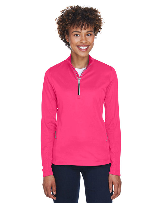 UltraClub Ladies' Cool & Dry Sport Quarter-Zip Pullover - Heliconia