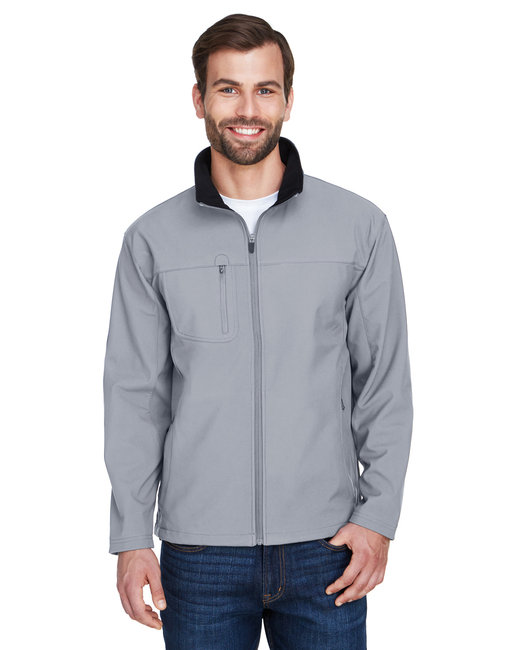 UltraClub Adult Ripstop Soft Shell Jacket with Cadet Collar - Medium Grey