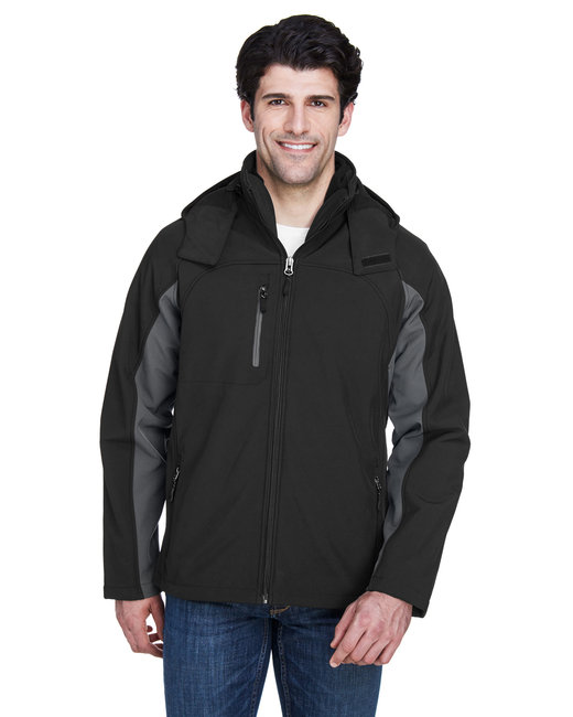 UltraClub Adult Colorblock 3-in-1 Systems Hooded Soft Shell Jacket - Black/ Charcoal