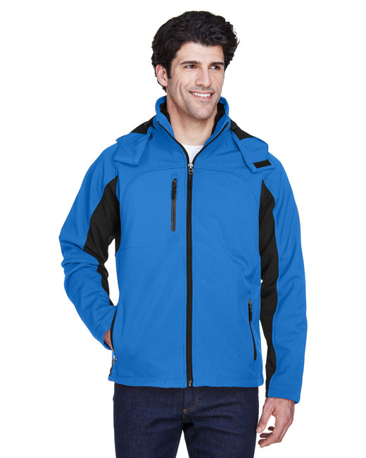 UltraClub Adult Colorblock 3-in-1 Systems Hooded Soft Shell Jacket - Classc Blue/ Blk