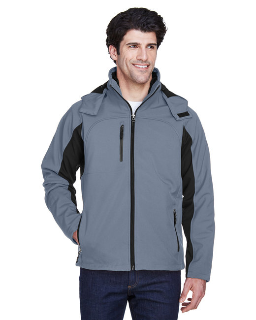 UltraClub Adult Colorblock 3-in-1 Systems Hooded Soft Shell Jacket - Ebony/ Black