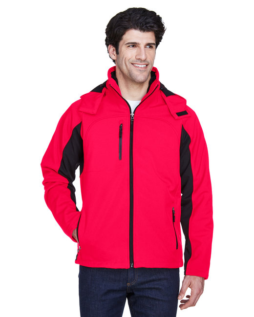 UltraClub Adult Colorblock 3-in-1 Systems Hooded Soft Shell Jacket - Red/ Black