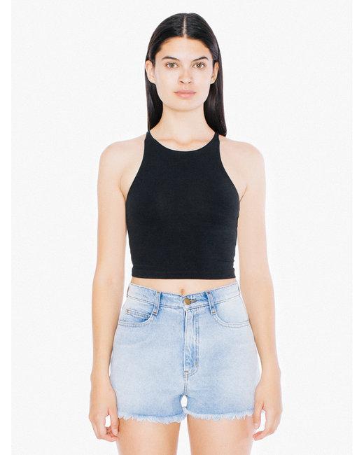 American Apparel Ladies' Cotton Spandex Sleeveless Crop Top - Black