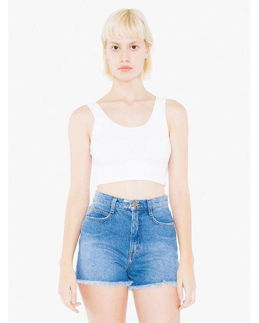 American Apparel Ladies' Cotton Spandex Crop Tank - White