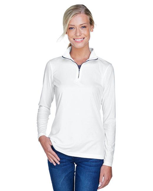 UltraClub Ladies' Cool & Dry Sport Performance Interlock Quarter-Zip Pullover - White