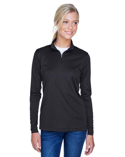 UltraClub Ladies' Cool & Dry Sport Performance Interlock Quarter-Zip Pullover - Black