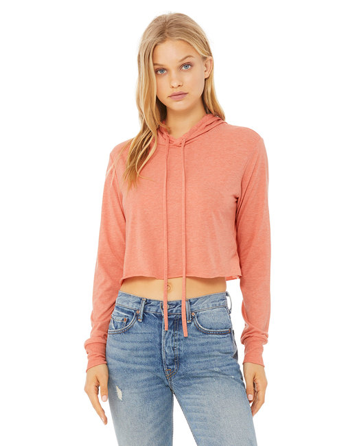 Bella + Canvas Ladies' Cropped Long Sleeve Hooded Sweatshirt - Sunset Triblend