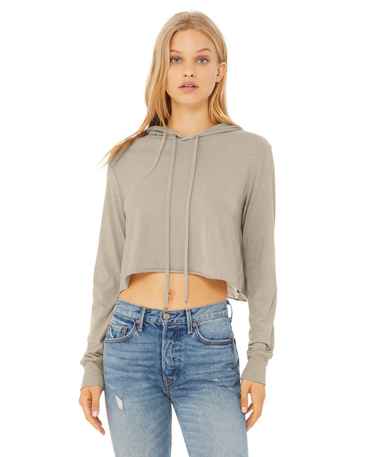 Bella + Canvas Ladies' Cropped Long Sleeve Hooded Sweatshirt - Tan Triblend