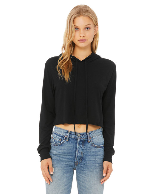 Bella + Canvas Ladies' Cropped Long Sleeve Hooded Sweatshirt - Solid Blk Trblnd
