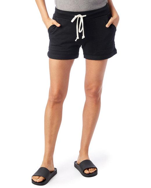 Alternative Ladies' Lounge Burnout French Terry Shorts - True Black