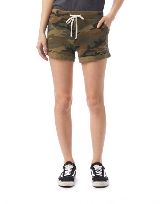 Alternative Ladies' Lounge Burnout French Terry Shorts - Camo