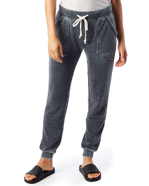 Alternative Ladies' Long Weekend Burnout French Terry Pants - Washed Black