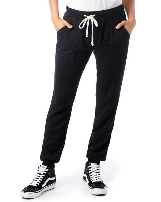 Alternative Ladies' Long Weekend Burnout French Terry Pants - True Black