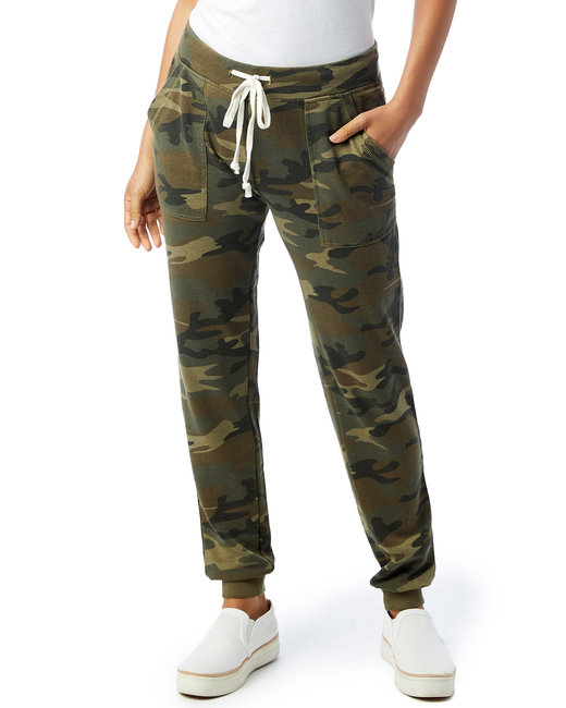 Alternative Ladies' Long Weekend Burnout French Terry Pants - Camo