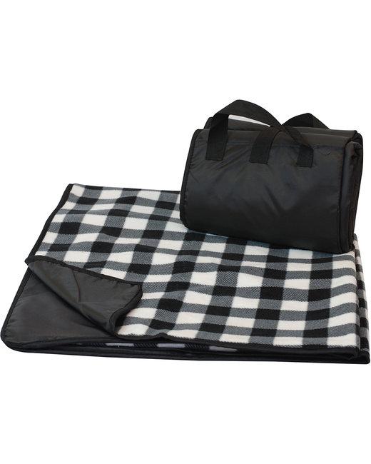Liberty Bags Fleece/Nylon Plaid Picnic Blanket - White Buffalo