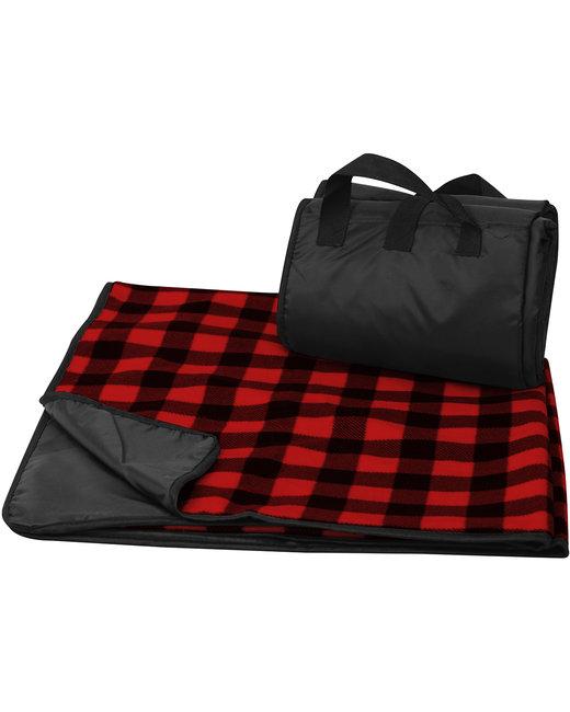 Liberty Bags Fleece/Nylon Plaid Picnic Blanket - Red Buffalo