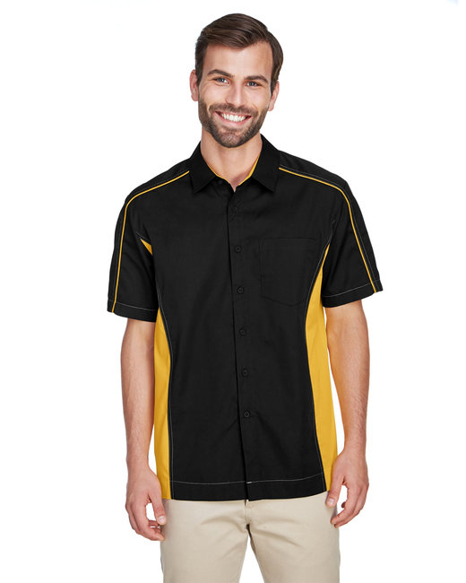 North End Men's Fuse Colorblock Twill Shirt - Blk/ Cmps Gold