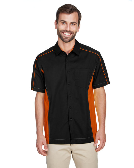 North End Men's Fuse Colorblock Twill Shirt - Black/ Orange