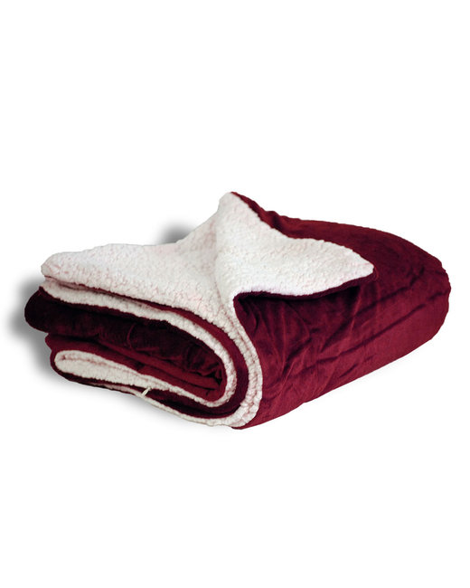 Alpine Fleece Micro Mink Sherpa Blanket - Burgundy