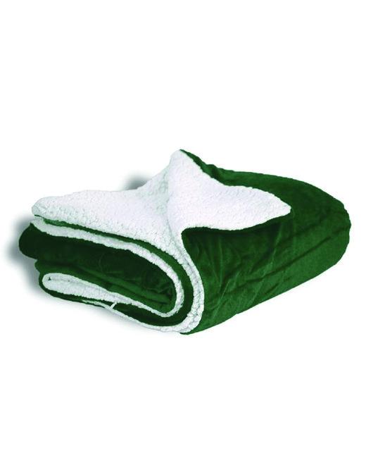 Alpine Fleece Micro Mink Sherpa Blanket - Forest Green