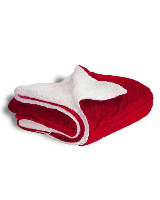 Alpine Fleece Micro Mink Sherpa Blanket - Red