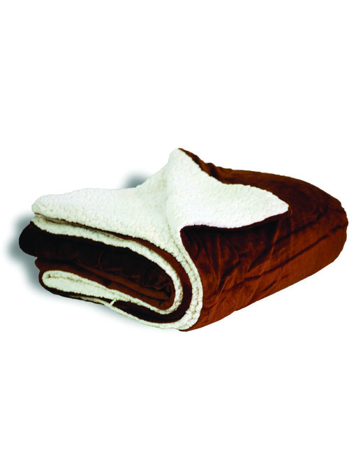 Alpine Fleece Micro Mink Sherpa Blanket - Chocolate
