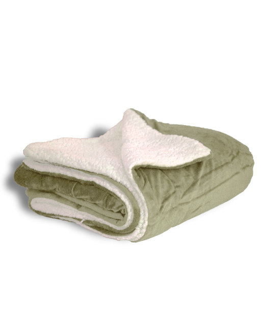 Alpine Fleece Micro Mink Sherpa Blanket - Sage
