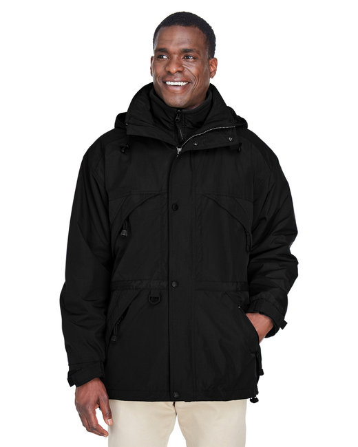 North End Adult 3-in-1 Parka with Dobby Trim - Black