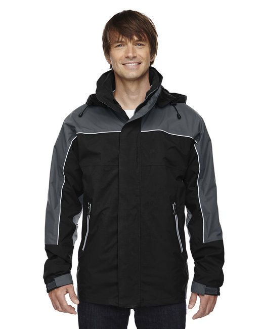 North End Adult 3-in-1 Seam-Sealed Mid-Length Jacket with Piping - Black
