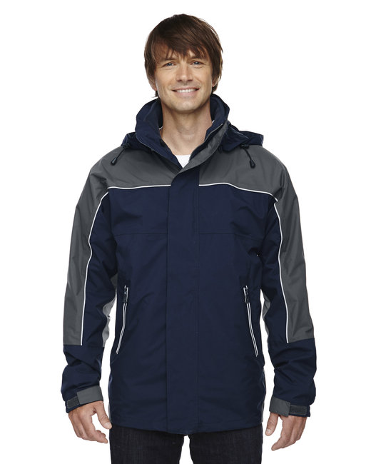 North End Adult 3-in-1 Seam-Sealed Mid-Length Jacket with Piping - Midnight Navy
