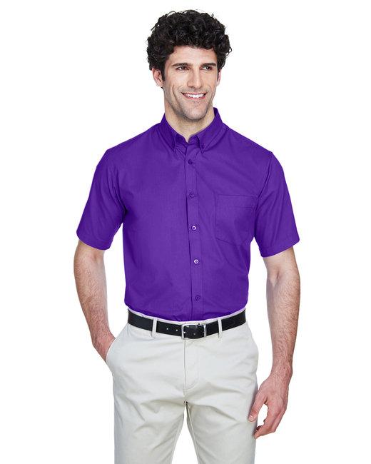 Core 365 Men's Optimum Short-Sleeve Twill Shirt - Campus Purple