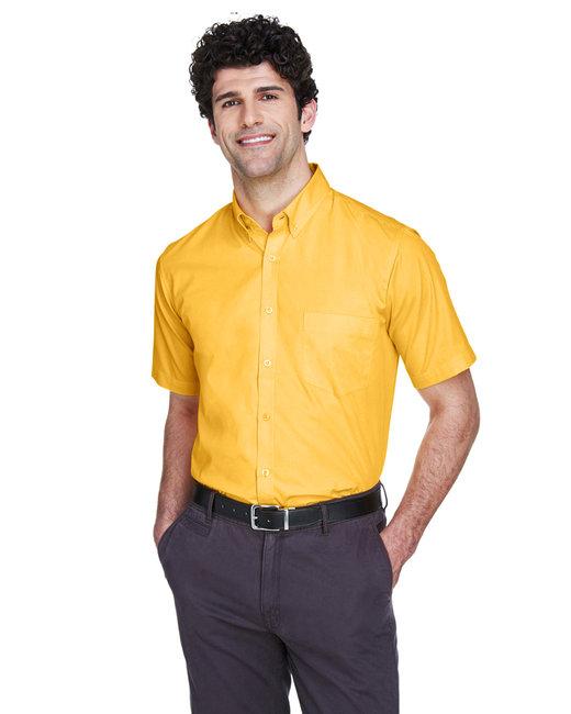 Core 365 Men's Optimum Short-Sleeve Twill Shirt - Campus Gold