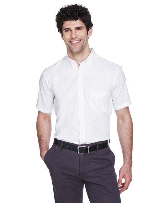 Core 365 Men's Optimum Short-Sleeve Twill Shirt - White