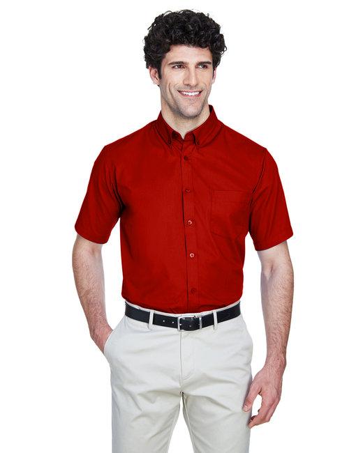 Core 365 Men's Optimum Short-Sleeve Twill Shirt - Classic Red