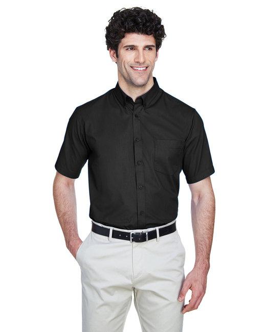 Core 365 Men's Tall Optimum Short-Sleeve Twill Shirt - Black