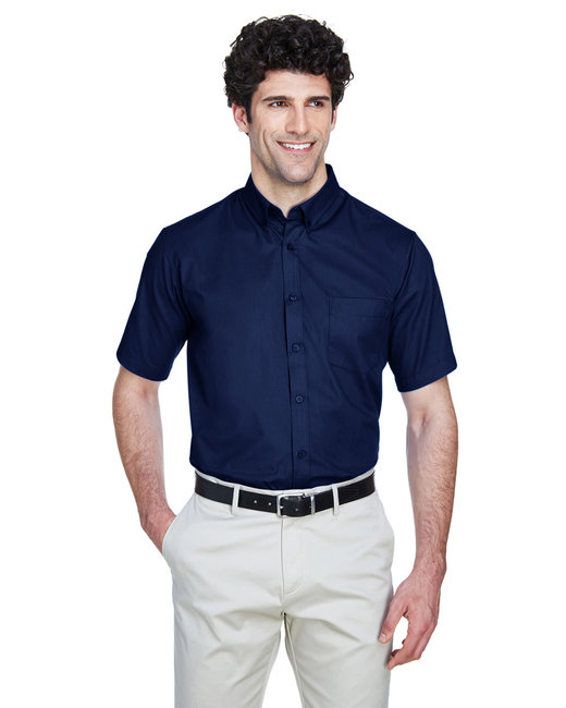 Core 365 Men's Tall Optimum Short-Sleeve Twill Shirt - Classic Navy