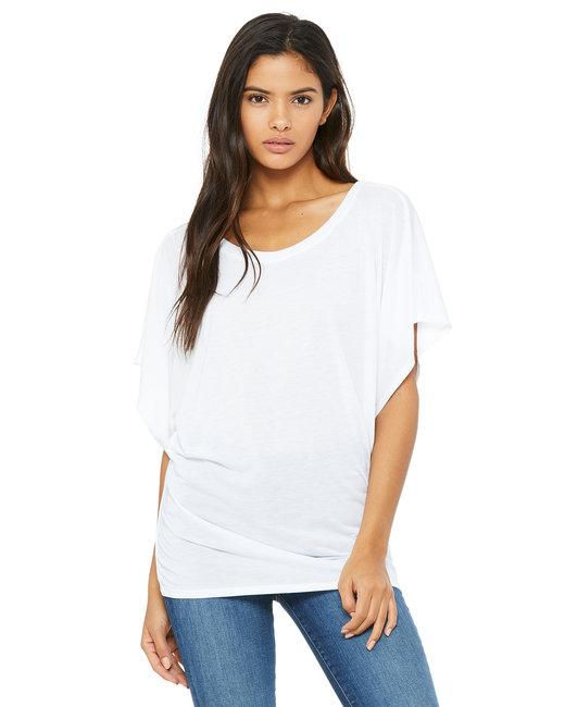 Bella + Canvas Ladies' Flowy Draped Sleeve Dolman T-Shirt - White