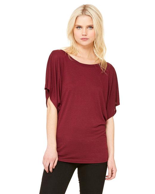 Bella + Canvas Ladies' Flowy Draped Sleeve Dolman T-Shirt - Maroon
