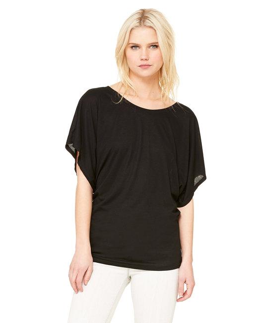Bella + Canvas Ladies' Flowy Draped Sleeve Dolman T-Shirt - Black