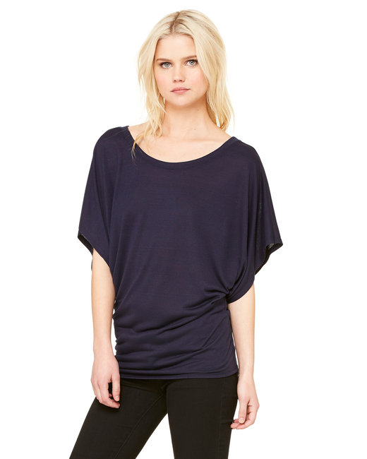 Bella + Canvas Ladies' Flowy Draped Sleeve Dolman T-Shirt - Midnight