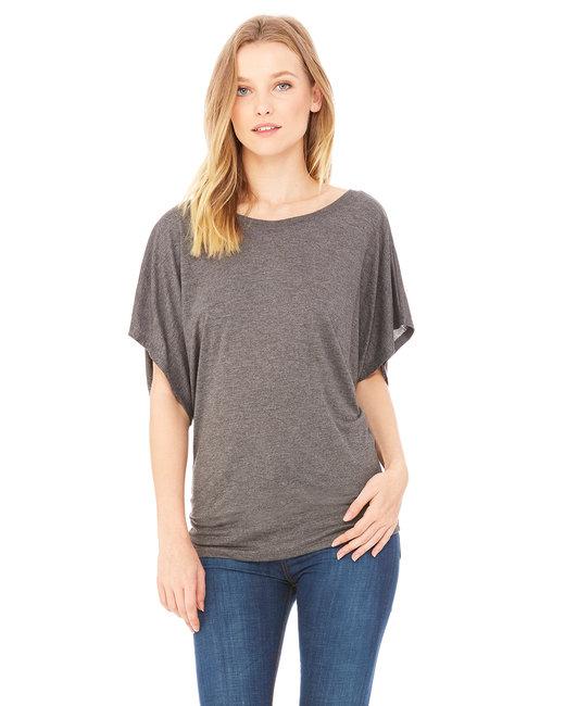 Bella + Canvas Ladies' Flowy Draped Sleeve Dolman T-Shirt - Drk Grey Heather