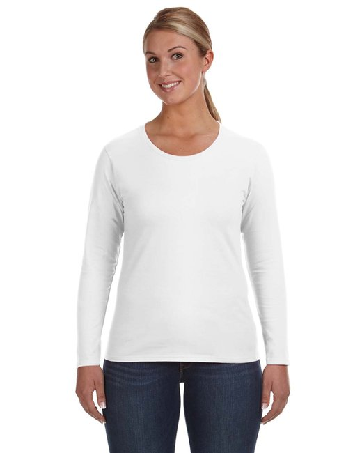 Anvil Ladies' Lightweight Long-Sleeve T-Shirt - White