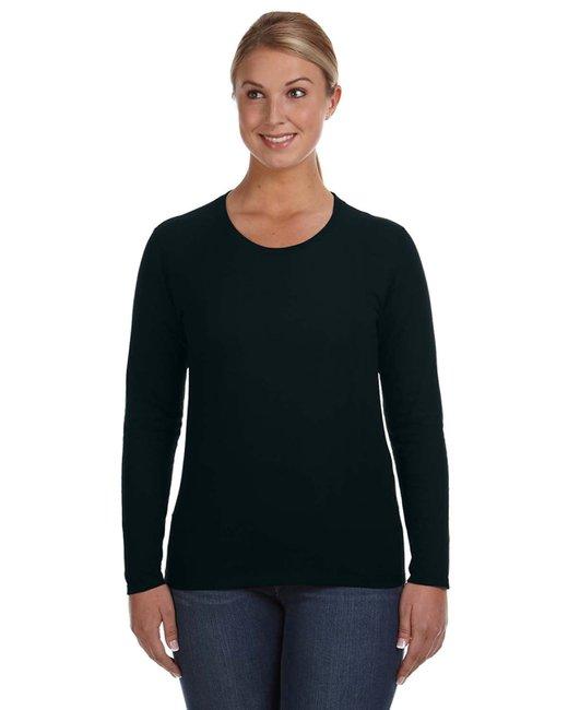 Anvil Ladies' Lightweight Long-Sleeve T-Shirt - Black