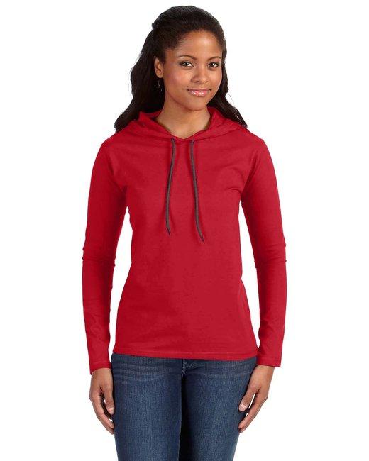 Anvil Ladies' Lightweight Long-Sleeve Hooded T-Shirt - Red/ Dark Grey